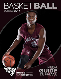 Basketball Media Guide 2017 - Caleb Agada dribbling on the cover.