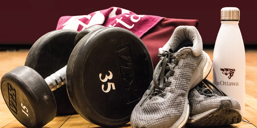 weights, water bottle, running shoes
