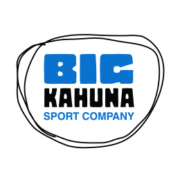 Big Kahuna Logo, blue and black letters.