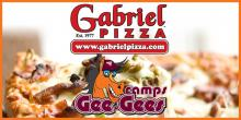 Pizza Background with Gabriel's Pizza and Gee-Gees Camps Logo.