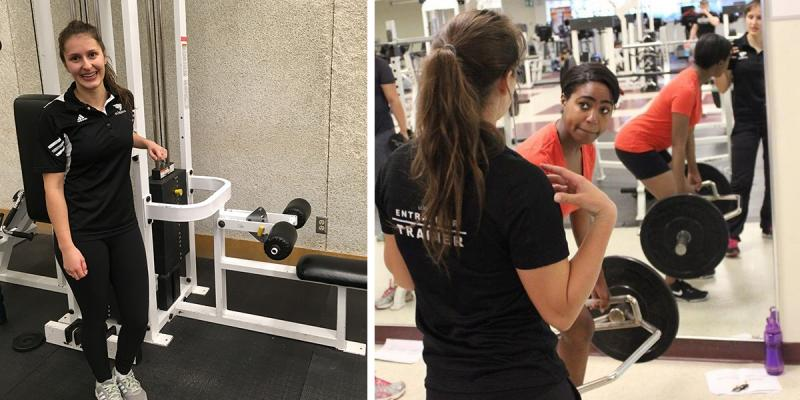 Trainer posing with a machine, and helping a client.