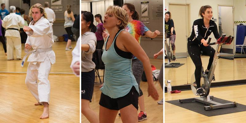 Collage of person doing martial arts, dance, indoor cycling.